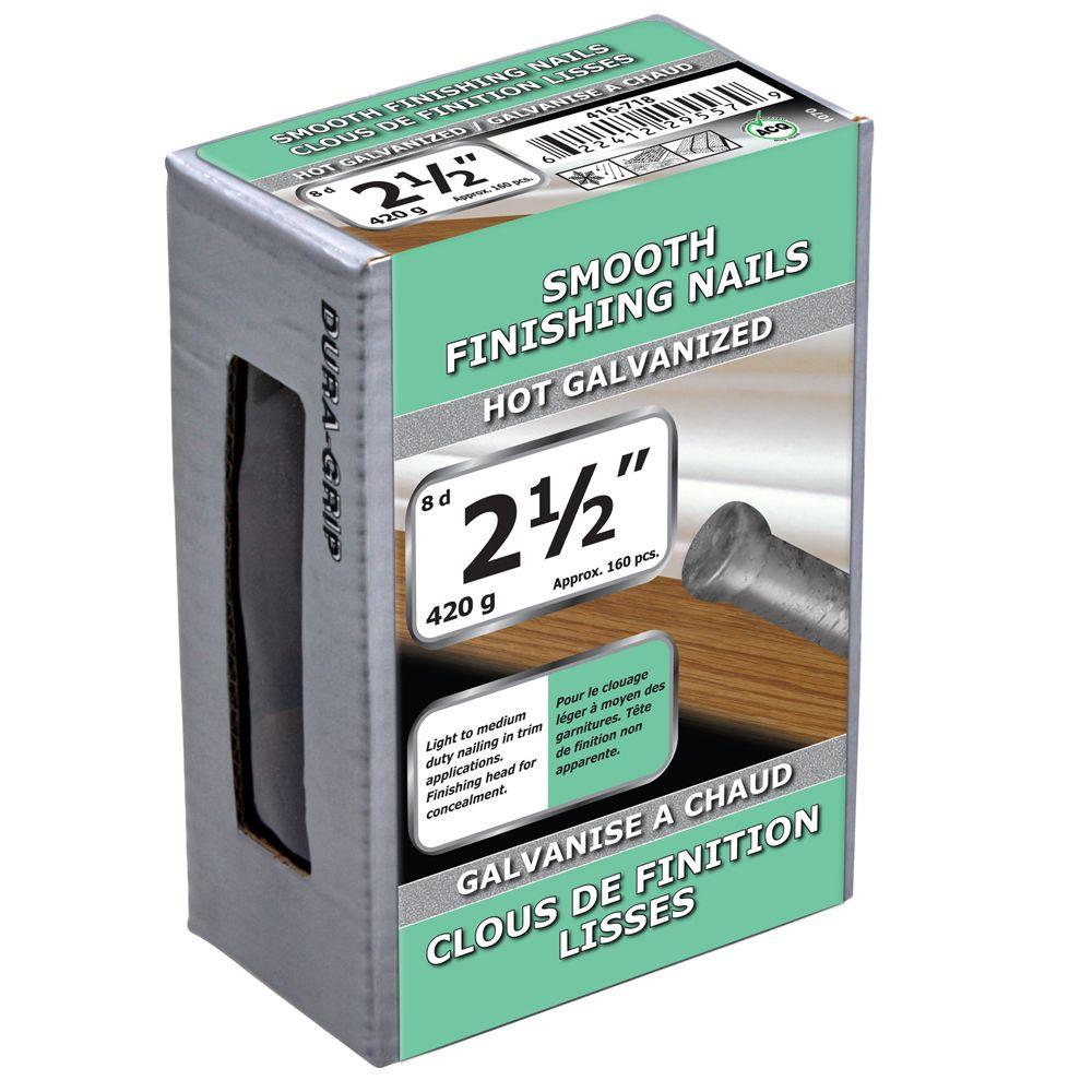 """2 1/2"""" clous de finition lisses galvanise a chaud 420g"""