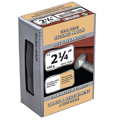 2 1/4-inch (7d) Oval Head Siding Nail-Hot Galvanized-420g (approx. 170  pieces per package)