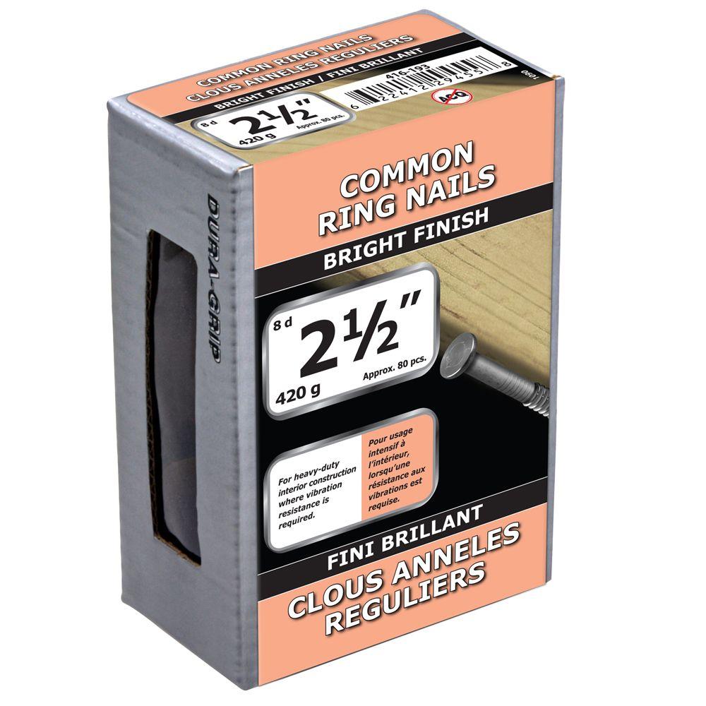 """2 1/2"""" clous anneles reguliers fini brillant 420g"""