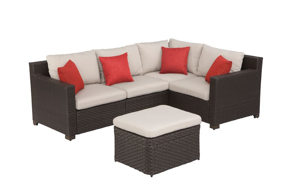 Hampton Bay Elmsley 5 Piece Outdoor Sectional Set The Home Depot Canada
