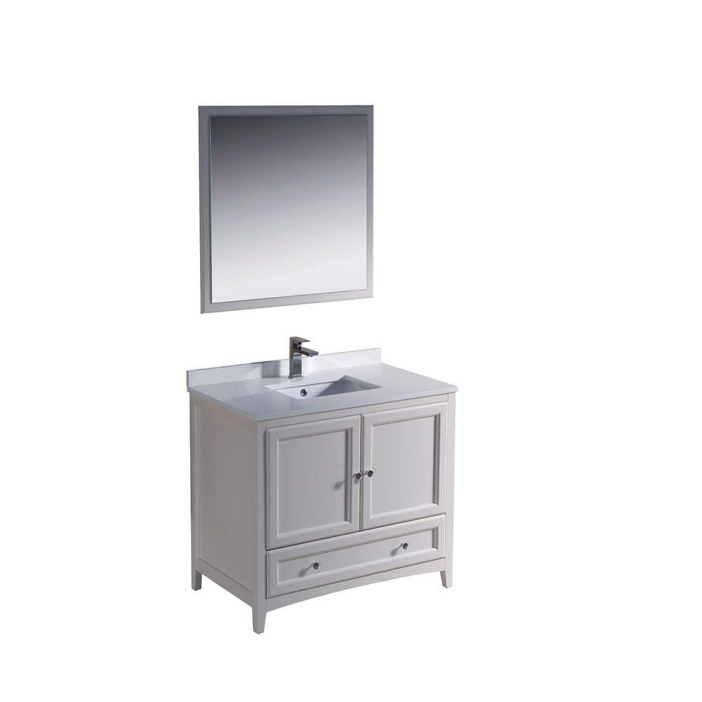Oxford 36-inch W Vanity in Antique White Finish