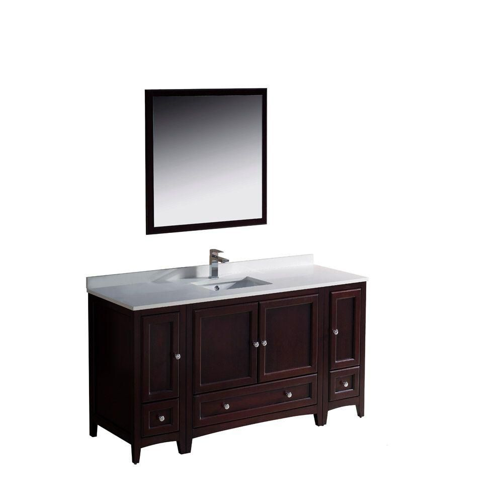 fresca oxford 60 inch w vanity in mahogany finish with mirror the
