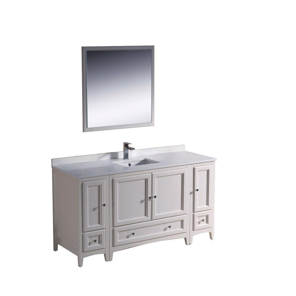 Oxford 60-inch W Vanity in Antique White Finish with Mirror