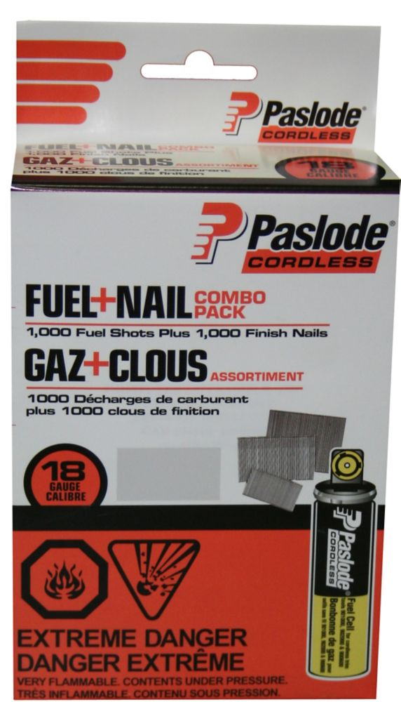 Brad Fuel+Nail Combo Pack (1000 - 1-1/2 Inch 18G Brad Nails + 1 Short Yellow Fuel Cell)