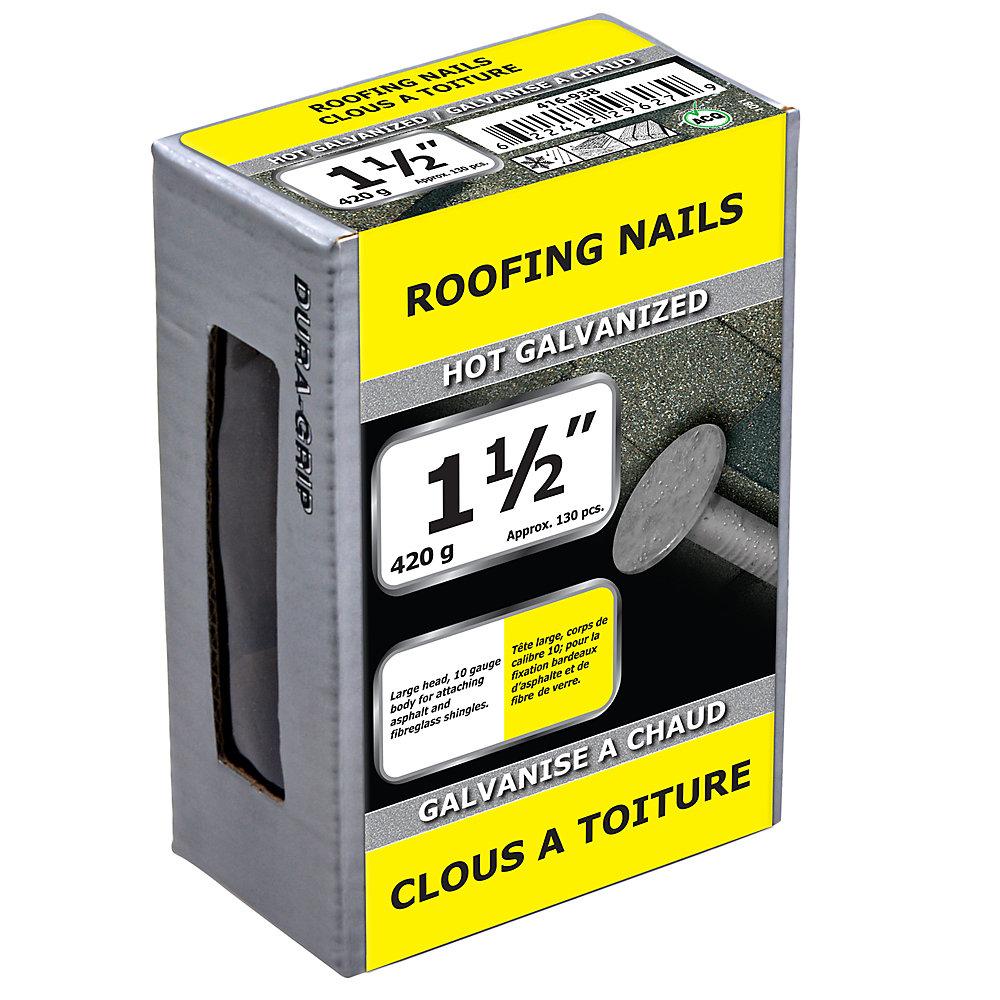 1 1/2 pouce clou de toiture galvanisé à chaud - 420 g (environ 130 pièces par paquet)