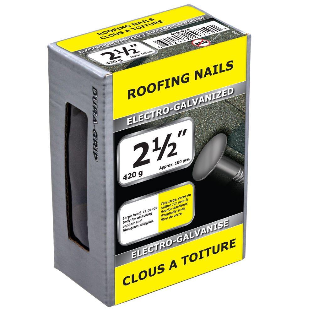 "2 1/2"" clous a toiture electro-galvanise 420g"