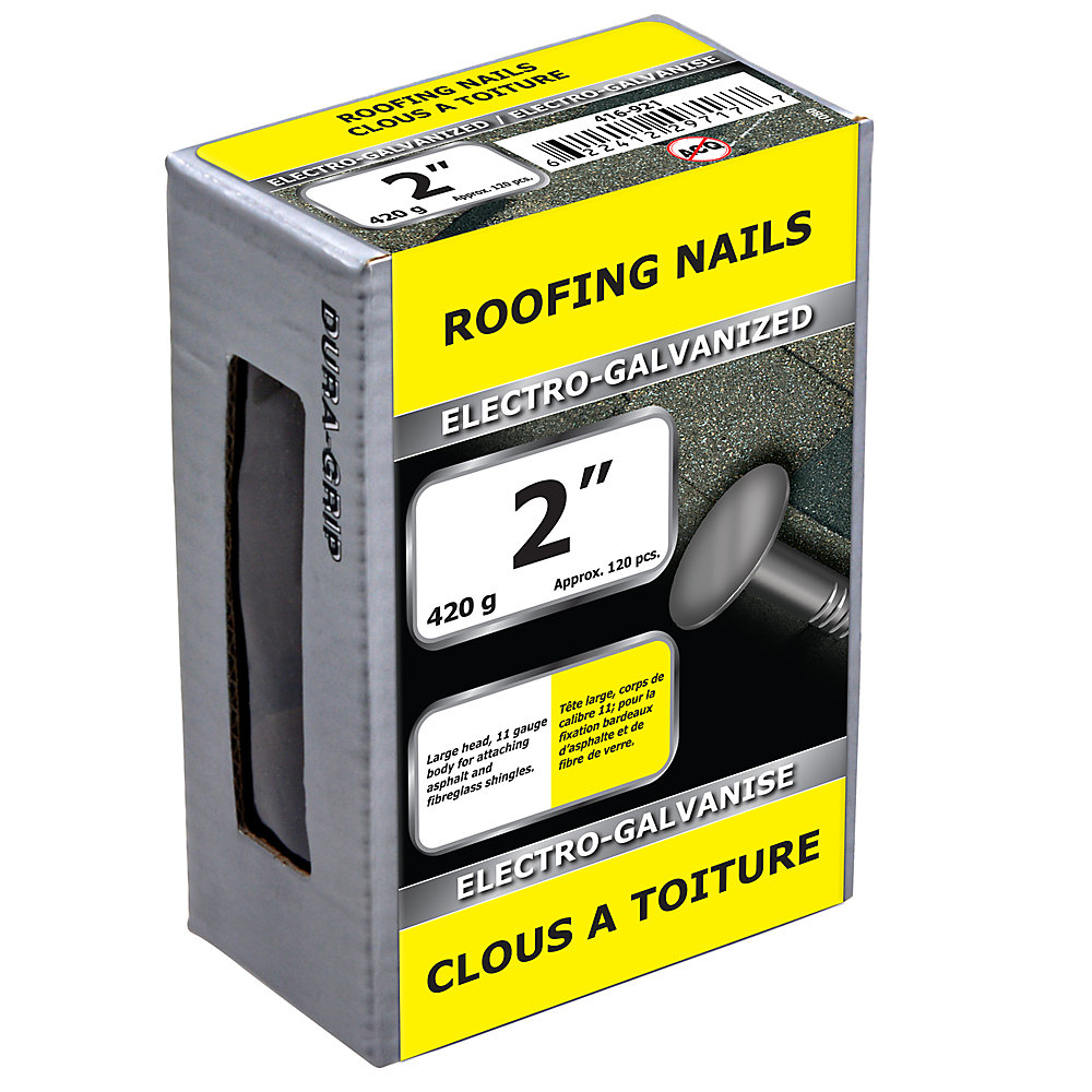 Clou pour toiture de 2 po galvanisé à l'électrolyte - 420 g (environ 120 pièces par paquet)
