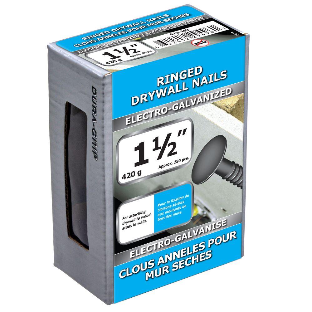 """1 1/2"""" clous anneles pour mur seches electro-galvanise 420g"""