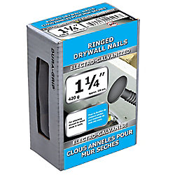 Paulin 1 1/4 po (3d) Anneau de cloison sèche à clouer galvanisé par électrolyse - 420 g (environ 330 pièces par paquet)