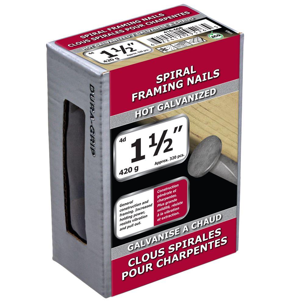 """1 1/2"""" clous spirales pour charpentes galvanise a chaud 420g"""