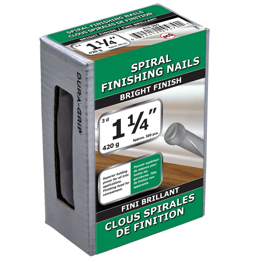 "1 1/4"" clous spirales de finition fini brillant 420g"