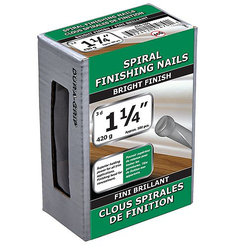 Paulin 1 1/4-inch (3d) Spiral Finishing Nail-Bright Plated-420g (approx. 500  pieces per package)