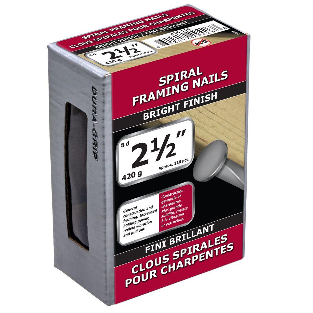 """2 1/2"""" clous spirales pour charpentes fini brillant 420g"""