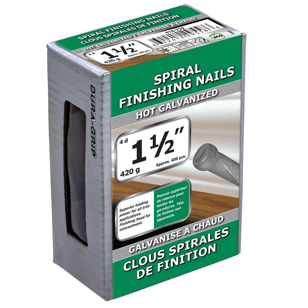 """1 1/2"""" clous spirales de finition galvanise a chaud 420g"""