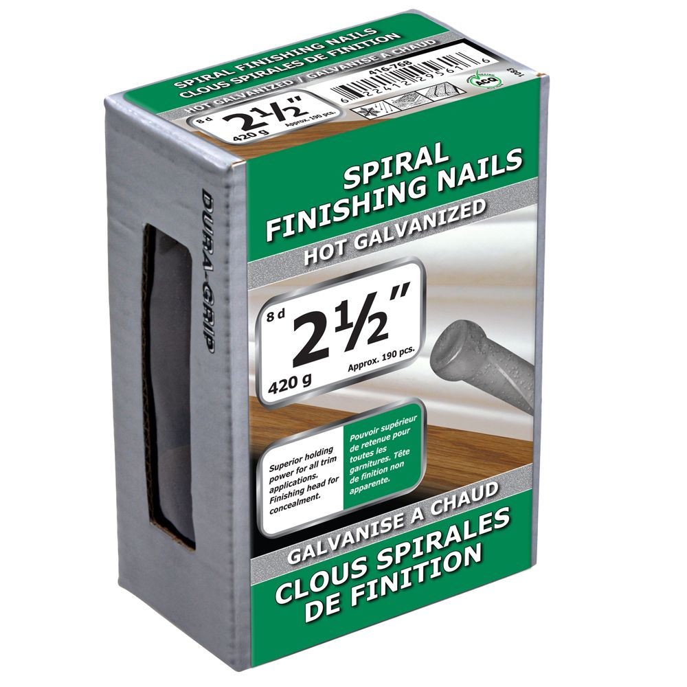 "2 1/2"" clous spirales de finition galvanise a chaud 420g"