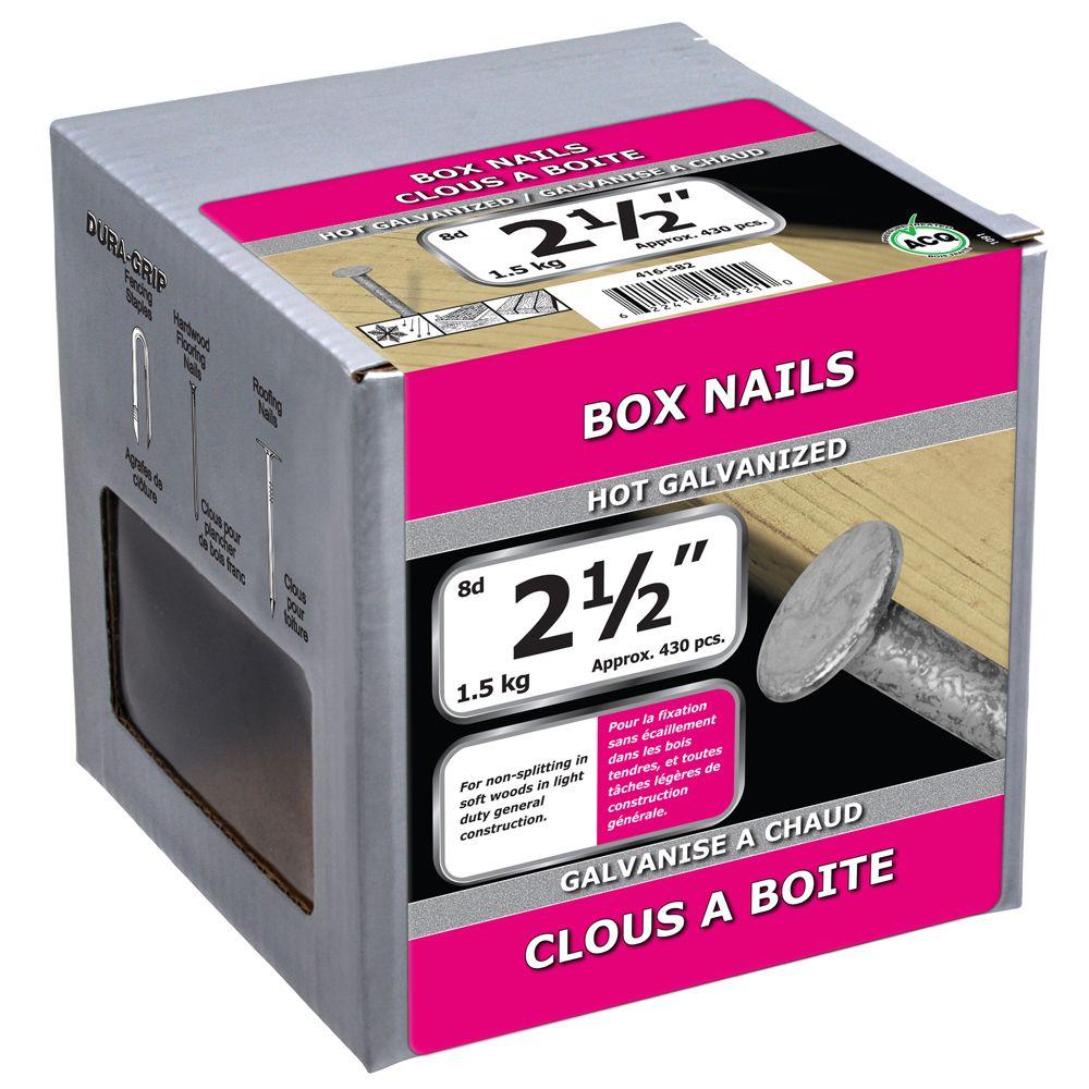 """2 1/2"""" Box Nail Hot Galv 1.5kg"""
