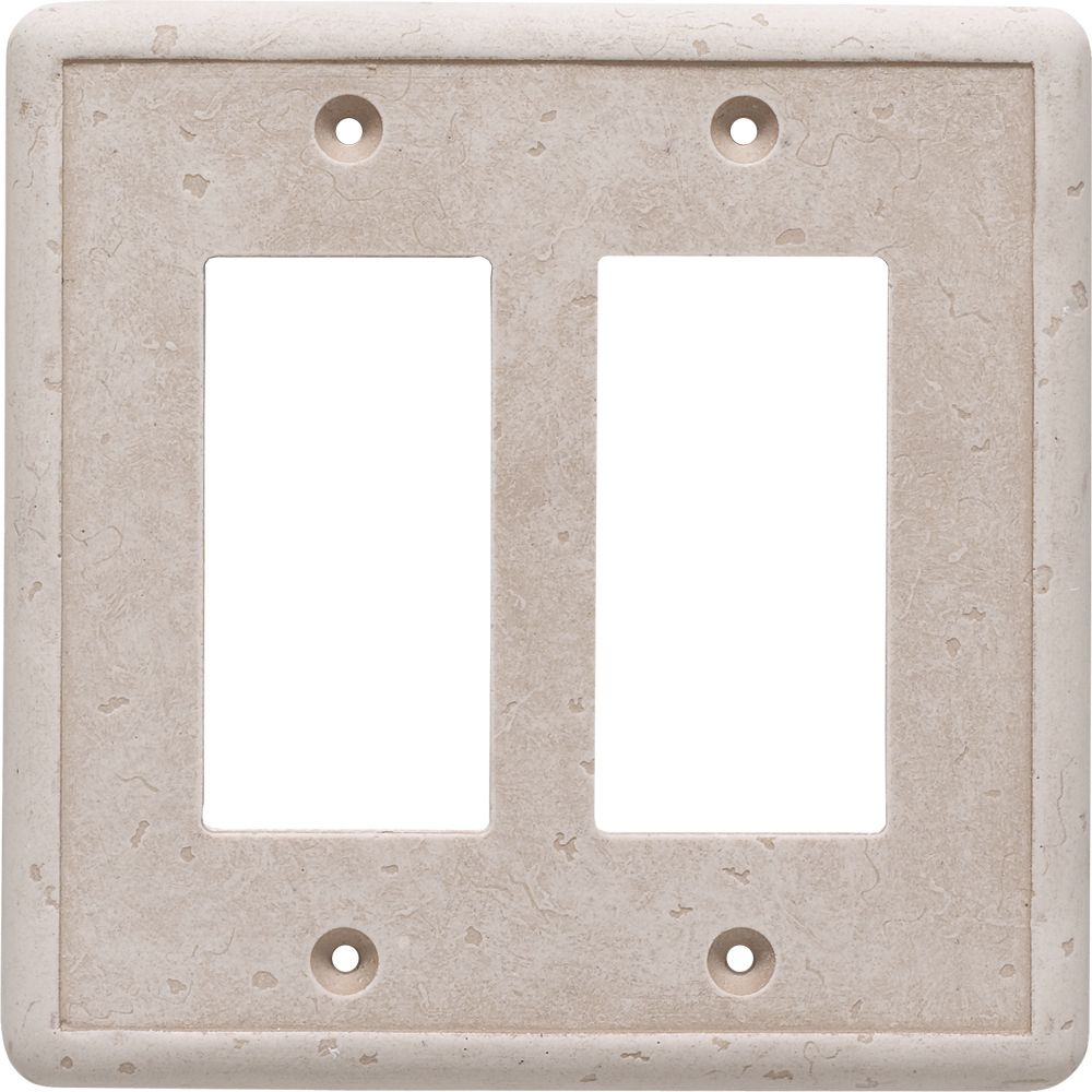 Double GFCI Travertine Cast Stone Wallplate SWP105-01 in Canada