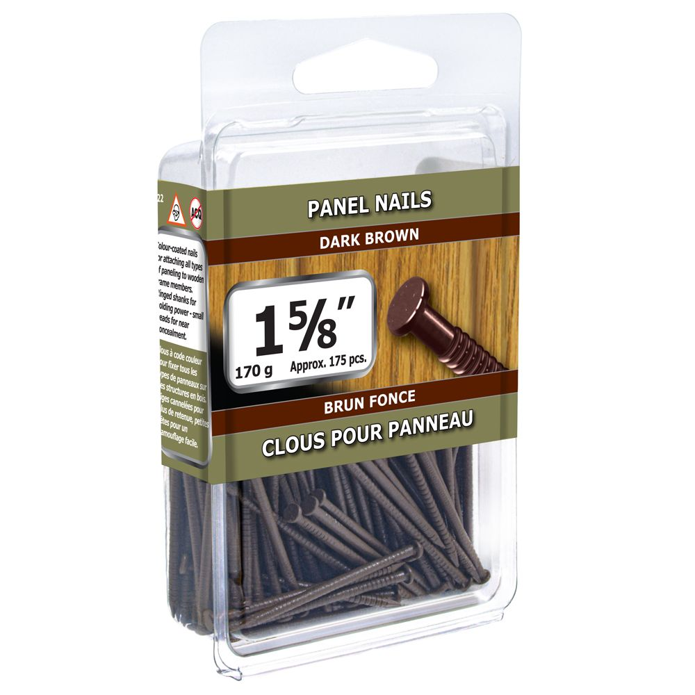 "1 5/8"" Panel Nails Dark Brown 170g 416-877 Canada Discount"