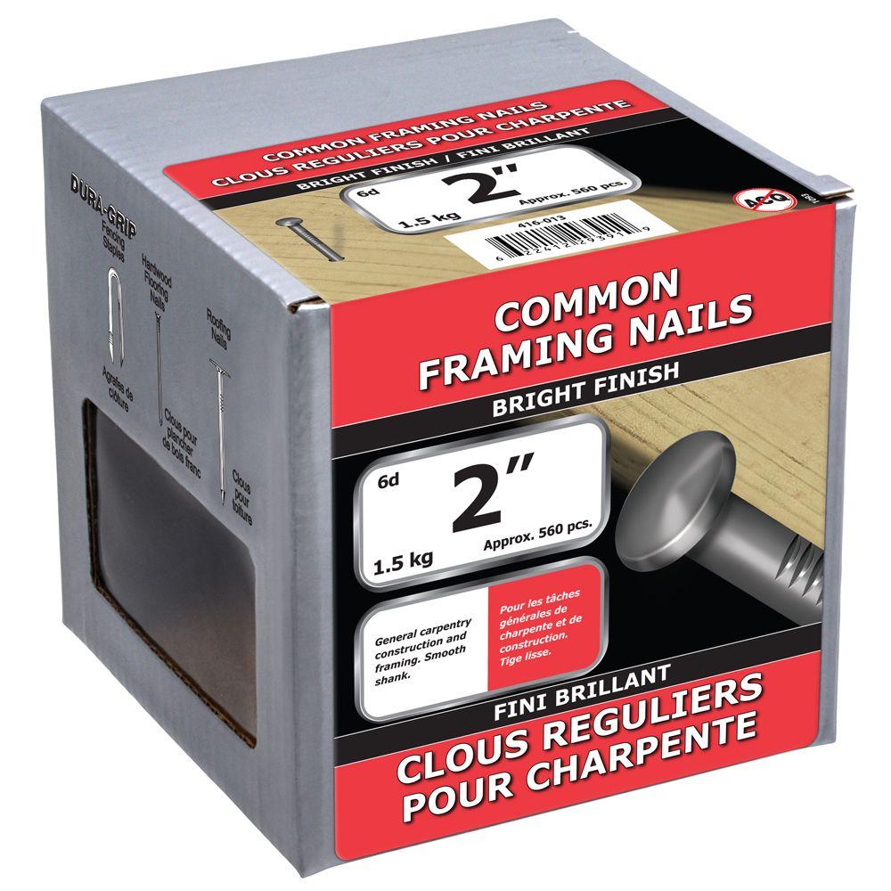"""2"""" clous reguliers pour charpentes fini brillant 1.5kg"""