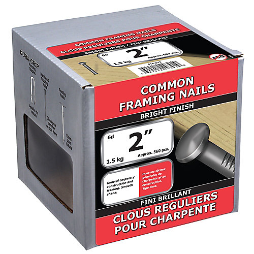 2-inch (6d) Common Framing Nail-Bright Plated-1.5kg (approx. 560  pieces per package)