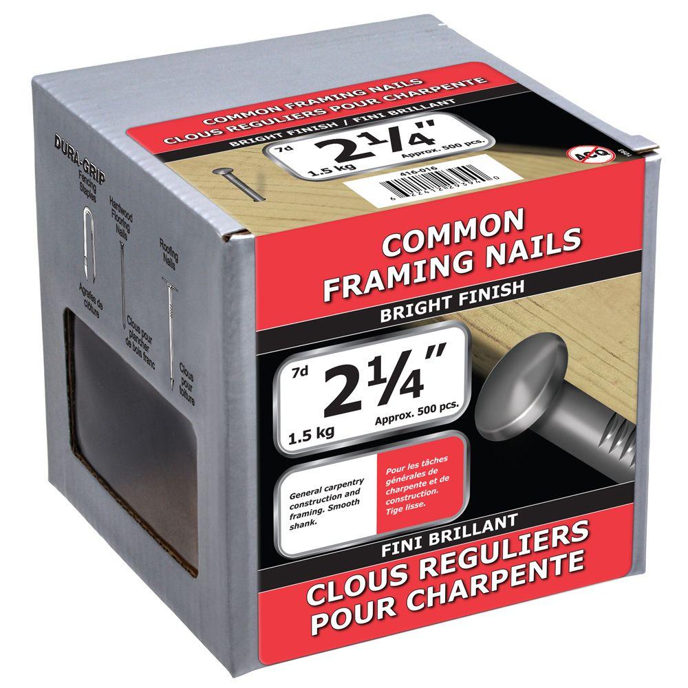 """2 1/4"""" clous reguliers pour charpentes fini brillant 1.5kg"""