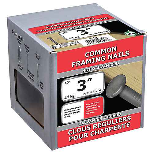 3-inch (10d) Common Framing Nail-Hot Galvanized-1.5kg (approx. 210  pieces per package)