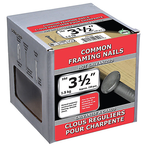3 1/2-inch (16d) Common Framing Nail-Hot Galvanized-1.5kg (approx. 150  pieces per package)