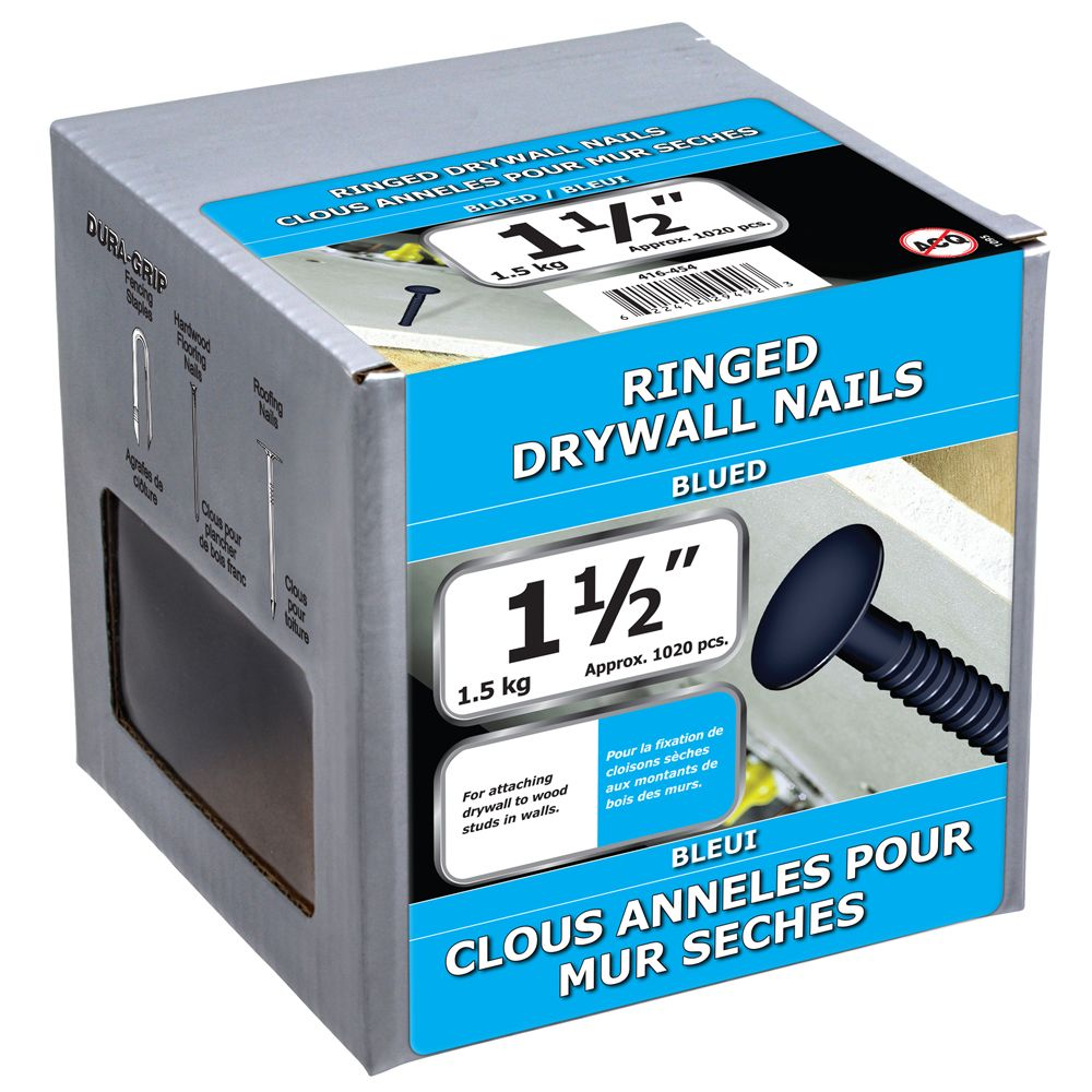 """1 1/2"""" clous anneles pour mur seches bleui 1.5kg"""