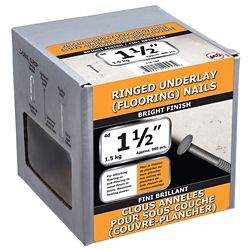 Paulin 1 1/2 pouce (4d) de sous-couche d'anneau de plancher cloué brillant - 1,5 kg (environ 980 pièces par paquet)