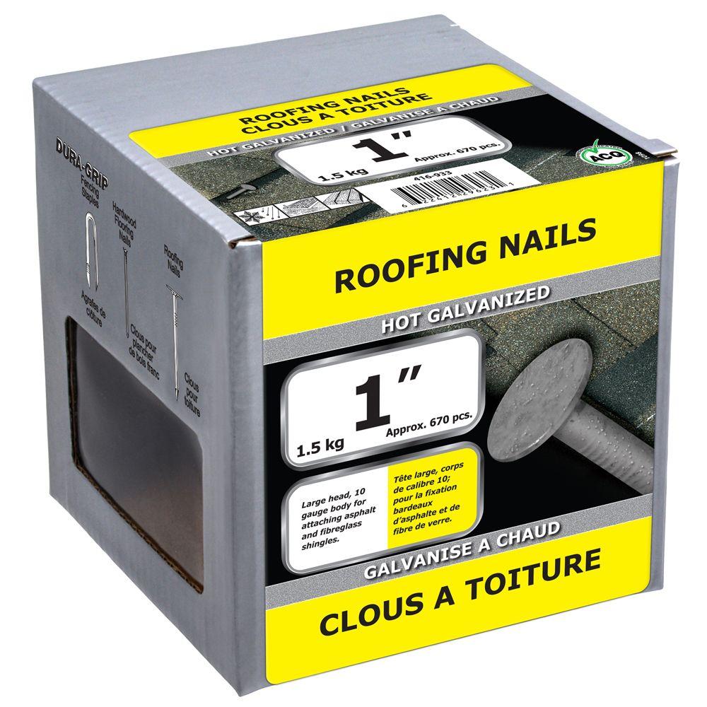 """1"""" clous a toiture galvanise a chaud 1.5kg"""