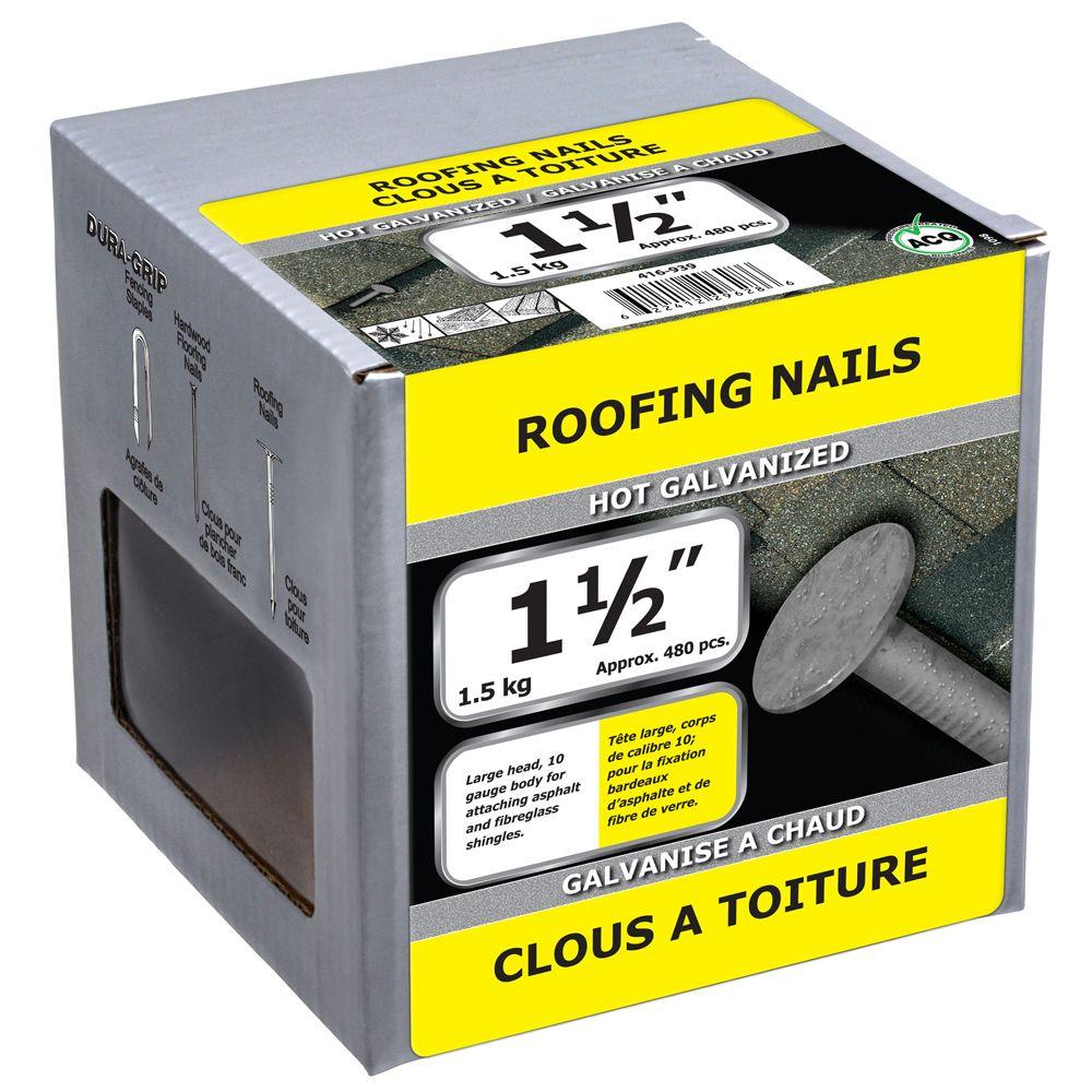 """1 1/2"""" clous a toiture galvanise a chaud 1.5kg"""
