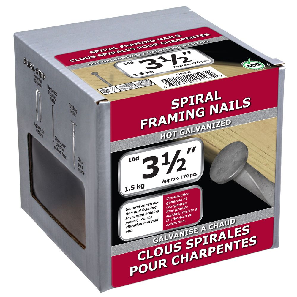 """3 1/2"""" clous spirales pour charpentes galvanise a chaud 1.5kg"""