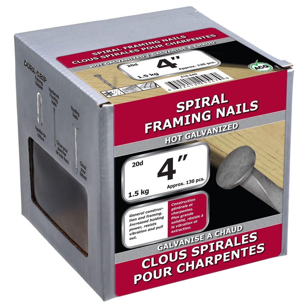 """4"""" clous spirales pour charpentes galvanise a chaud 1.5kg"""