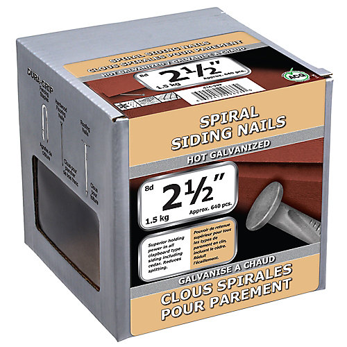 2 1/2-inch (8d) Spiral Siding Nail-Hot Galvanized-1.5kg (approx. 640  pieces per package)