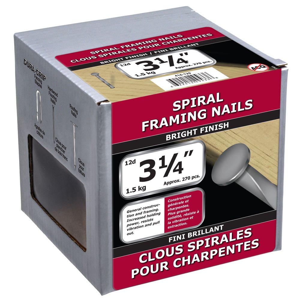 """3 1/4"""" clous spirales pour charpentes fini brillant 1.5kg"""