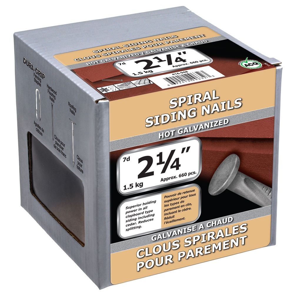 "2 1/4"" Spiral Siding Hot Galv 1.5kg 416-948 Canada Discount"