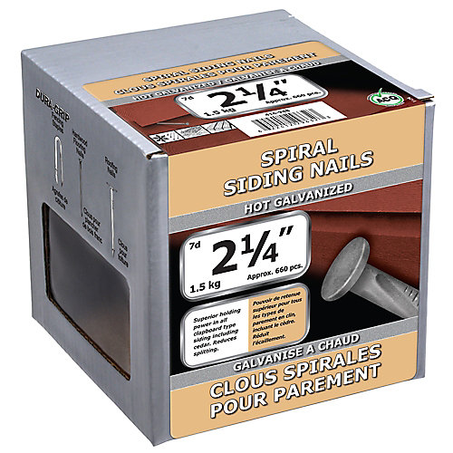 2 1/4-inch (7d) Spiral Siding Nail-Hot Galvanized-1.5kg (approx. 660  pieces per package)