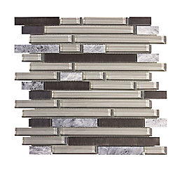 Jeffrey Court 11.75 inch x 13 inch I-Beam 8mm Glass Stone Metal Mosaic
