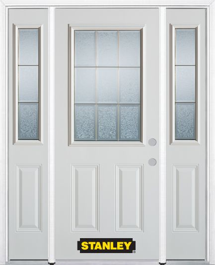 Stanley Doors 64.5 inch x 82.375 inch Diana Brass 1/2 Lite 2-Panel Prefinished White Left-Hand Inswing Steel Prehung Front Door with Sidelites and Brickmould