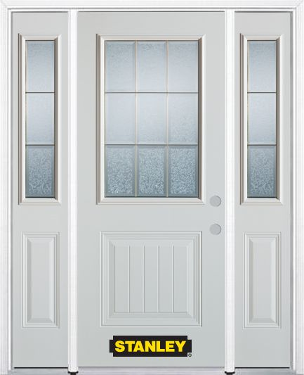 66-inch x 82-inch Diana 1/2-Lite 1-Panel White Steel Entry Door with Sidelites and Brickmould