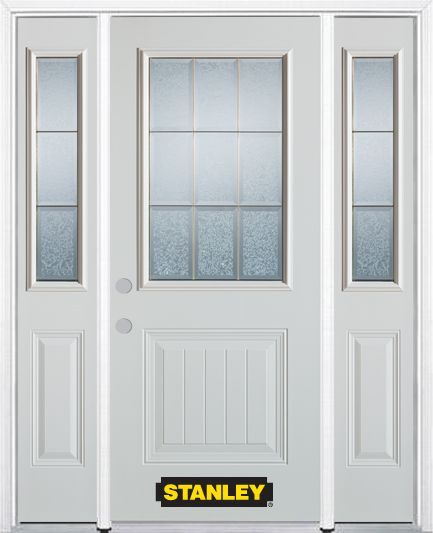 Stanley Doors 66.5 inch x 82.375 inch Diana Brass 1/2 Lite 1-Panel Prefinished White Right-Hand Inswing Steel Prehung Front Door with Sidelites and Brickmould