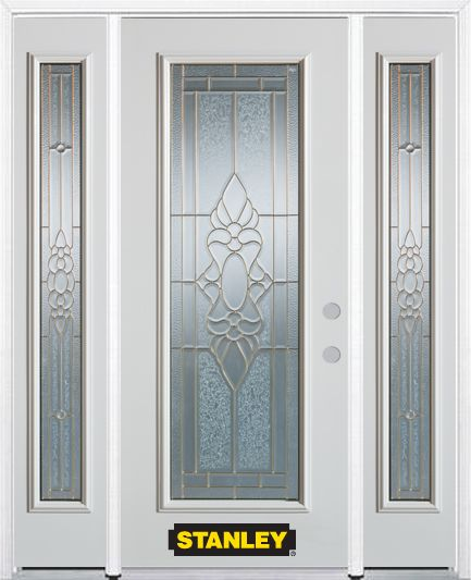 Stanley Doors 68.5 inch x 82.375 inch Victoria Brass Full Lite Prefinished White Left-Hand Inswing Steel Prehung Front Door with Sidelites and Brickmould