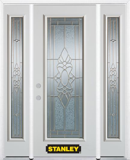 68-inch x 82-inch Victoria Full Lite Finished White Steel Entry Door with Sidelites and Brickmoul...