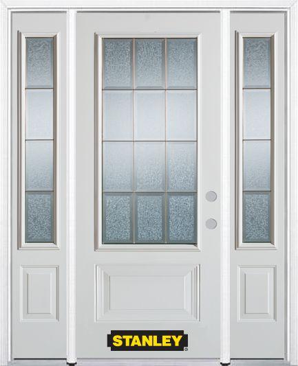 Porte dentrée en acier préfini en blanc, munie de deux panneaux et dun 3/4 verre, 66 po x 82 po a...