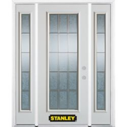 Stanley Doors 64.5 inch x 82.375 inch Diana Brass Full Lite Prefinished White Left-Hand Inswing Steel Prehung Front Door with Sidelites and Brickmould