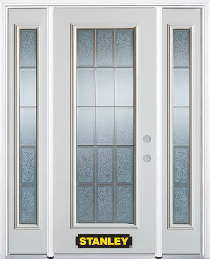 66-inch x 82-inch Diana Full Lite Finished White Steel Entry Door with Sidelites and Brickmould