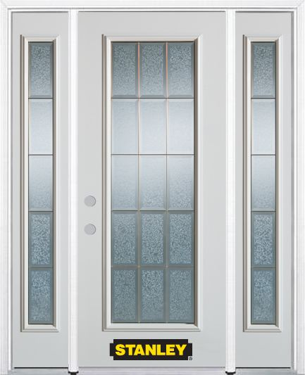 Stanley Doors 68.5 inch x 82.375 inch Diana Brass Full Lite Prefinished White Right-Hand Inswing Steel Prehung Front Door with Sidelites and Brickmould