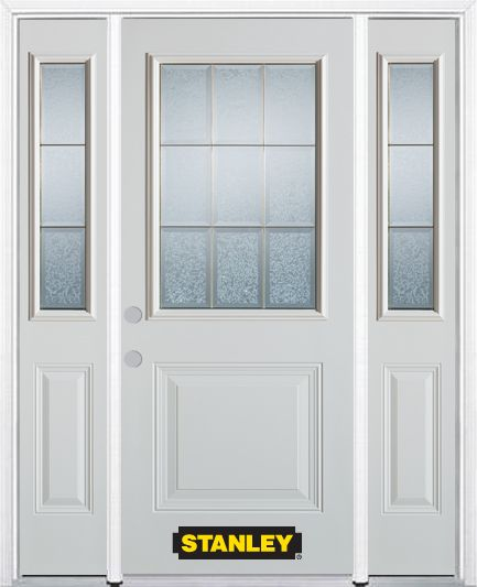 64-inch x 82-inch Diana 1/2-Lite 1-Panel White Steel Entry Door with Sidelites and Brickmould