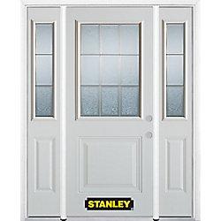 Stanley Doors Porte dentrée en acier préfini en blanc, munie d'un panneau et dun 1/2 verre, 64 po x 82 po avec panneaux latéraux et moulure de brique - ENERGY STAR®