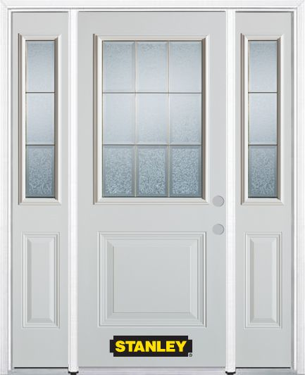 Stanley Doors 64.5 inch x 82.375 inch Diana Brass 1/2 Lite 1-Panel Prefinished White Left-Hand Inswing Steel Prehung Front Door with Sidelites and Brickmould - ENERGY STAR®